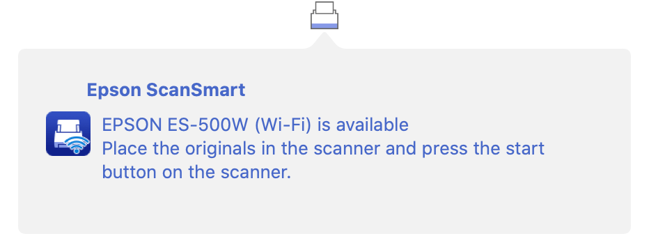 Epson ScanSmart menu item and notification