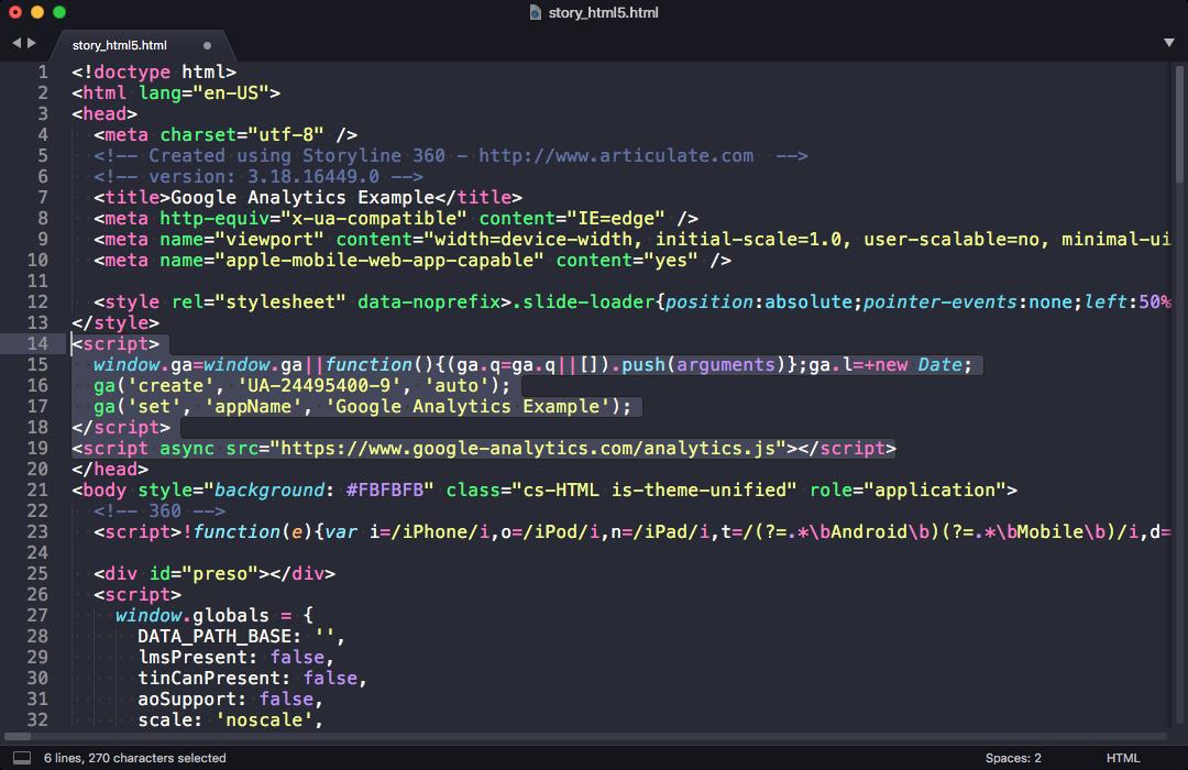 Adding Google Analytics code to story_html5.html